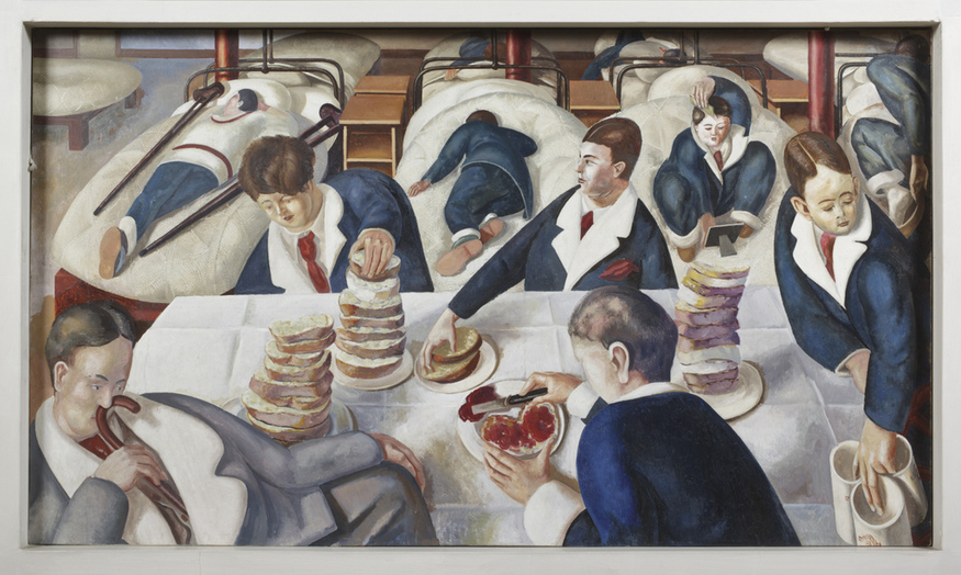 TEA IN THE HOSPITAL WARD by Stanley Spencer (1891- 1959) on the south wall at Sandham Memorial Chapel, Burghclere, Hampshire. Artist's work in copyright - further permission required