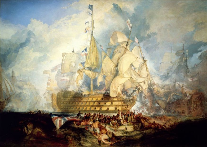 The Battle of Trafalgar, 21 October 1805 by JMW Turner, 1823–24, oil on canvas © National Maritime Museum (Greenwich Hospital Collection)