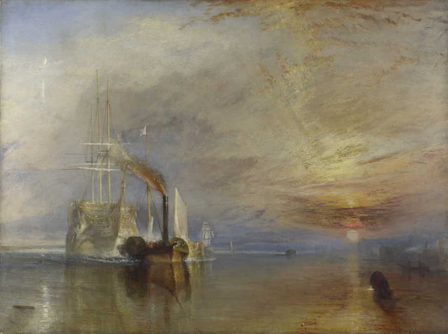 The Fighting Temeraire, tugged to her last Berth to be broken up, 1838 by JMW Turner, 1839, oil on canvas © The National Gallery, London