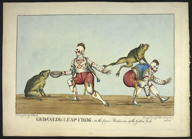 William Heath. Grimaldi's leap frog. (c) British Library Board.