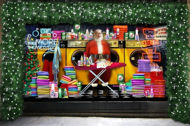 (2008) At this time, Santa hadn't taken centre stage in a Selfridges display for over 40 years. That was rectified with these simple yet jolly sets, in which Mr Claus headed down the local launderette...