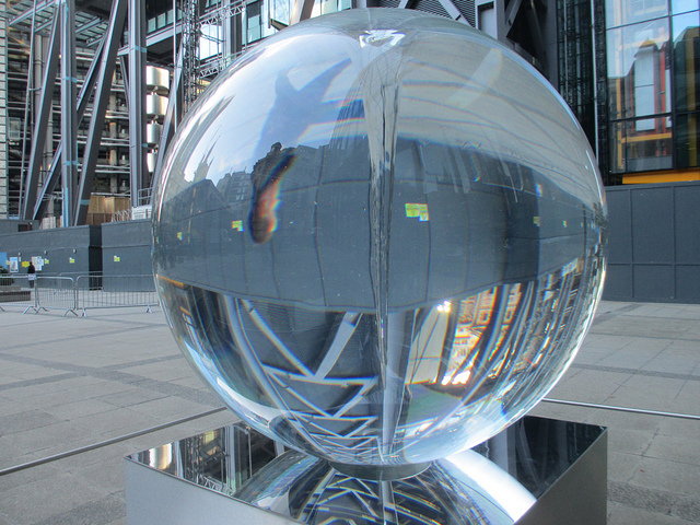 This beaut is currently on show in the plaza between the Cheesegrater and the Aviva building, also as part of the Sculpture in the City exhibition. It's known simply as Optic Sphere and is by Petroc Sesti. See how long you can watch passers-by before getting sea-sickness. Photo by M@.