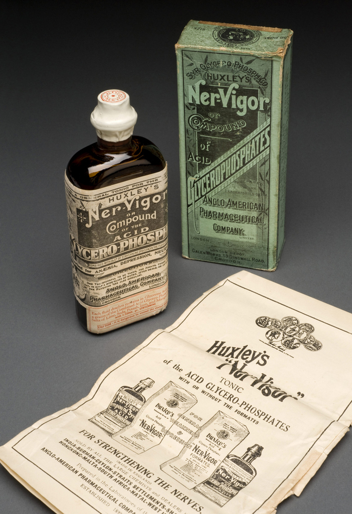 """A640381, Bottle of """"Ner-Vigor"""", with instructions, in original carton, by the Anglo-American Pharmaceutical Co. Ltd., English. A640381 Pt1, Instructions including advertisements for other products. Graduated grey background."""