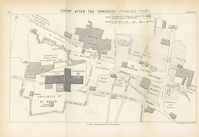A plan of Cheap (i.e. Cheapside) in medieval times. Some of this will be speculative.