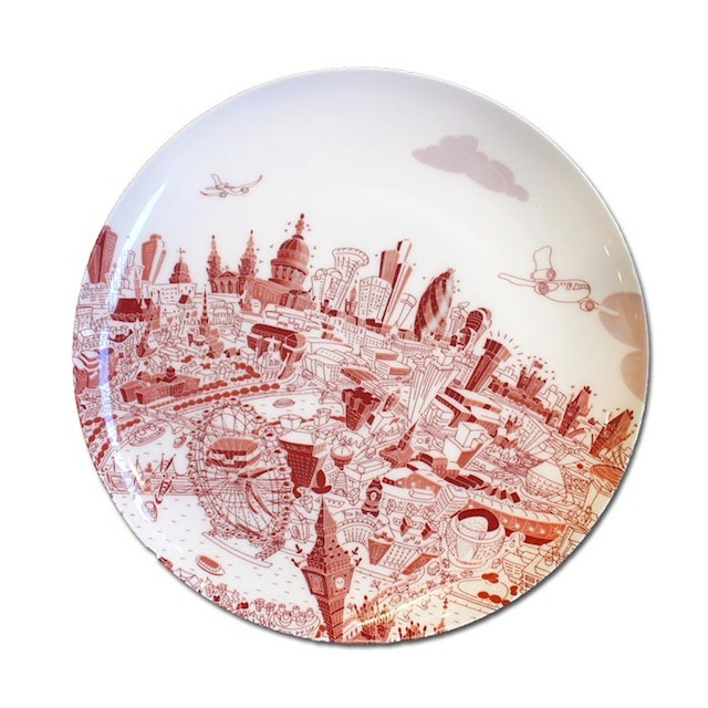 China dinner plate of London in red.