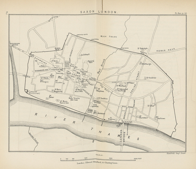 An attempt to draw Saxon London (in 1884). Subsequent archaeology has uncovered additional finds, like the presence of the Roman amphitheatre at Guildhall, which would have no doubt been a notable feature at this time. The inclusion of Canute's Trench in Southwark is probably a fanciful addition.