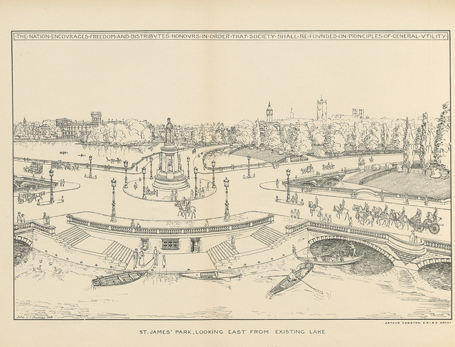 A novel plan for St James's Park, showing Venice-like canals and gondolas.