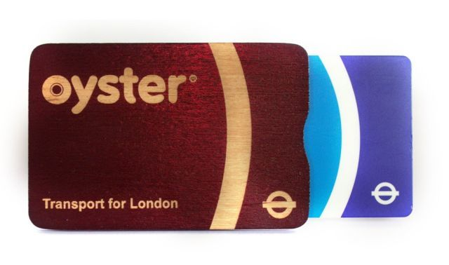 Wooden Oyster card holder from TfL