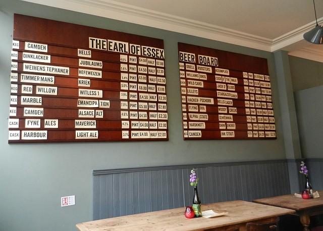 The Earl of Essex's 'Beer Board'.