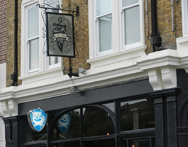 The sign above Camden's BrewDog hints at the hoppy nature of many of the beers to be found therein.