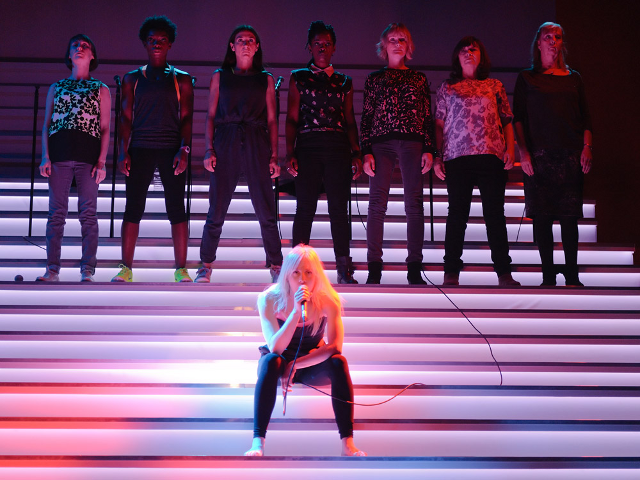 Blurred Lines (Bryony Hannah, Michaela Coel, Susannah Wise, Lorna Brown, Claire Skinner, Marion Bailey, Ruth Sheen and Sinéad Matthews. Photo by Simon Kane