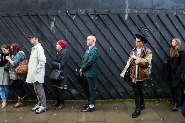 Queuing for the catwalk shows is an art in itself.
