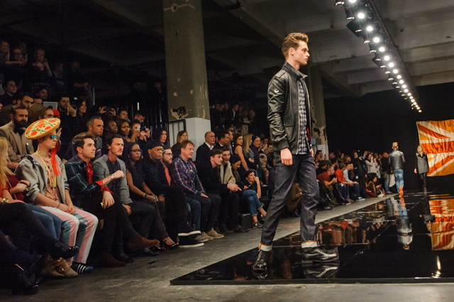 Look closely at this Superdry front row and you will see a man wearing a pizza.