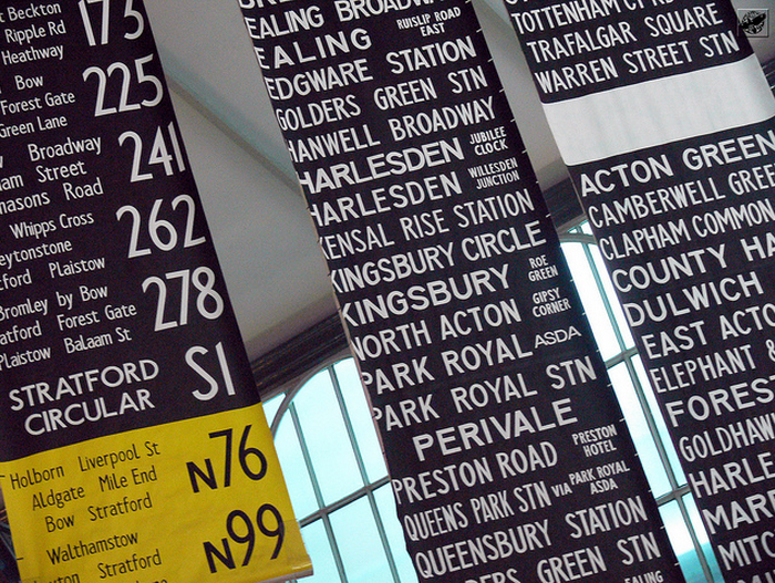 Bus blinds at London Transport Museum by Gábor Hernádi