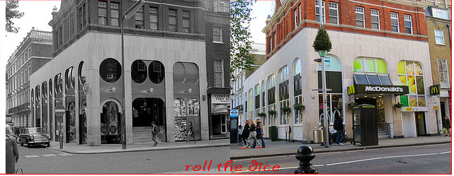 Fashionable boutique Chelsea Drugstore, now under the sign of the golden arches. Early 1970s and 2013.