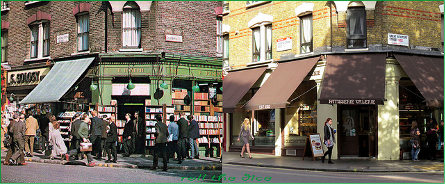 From books to baps. Charing Cross Road, mid-1970s and 2013.