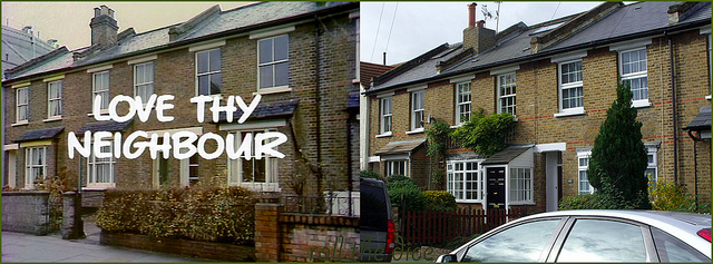 Houses in Teddington used in the credits to Love Thy Neighbour. 1972 and 2013