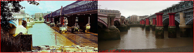 Blackfriars Bridge 1980 and 2013.