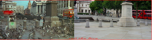 Still from 'The Sandwich Man' in Trafalgar Square. 1966 and 2013.