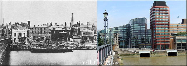 Lambeth Bridge, 1866 and 2013. Utterly changed.