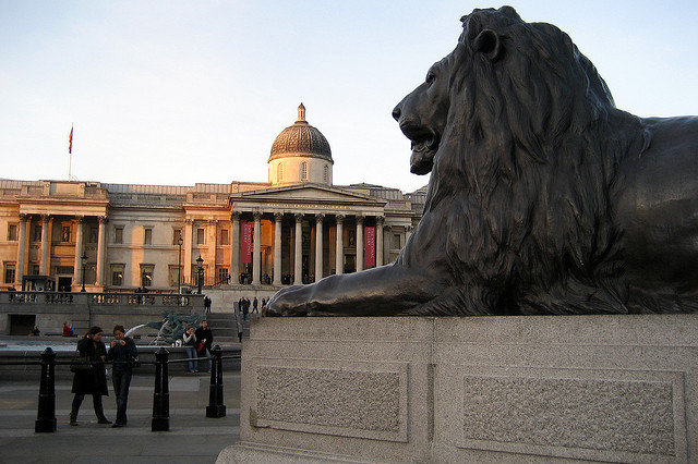 Trafalgar Square Nelson's Column Lion by Wally Gobetz via flickr