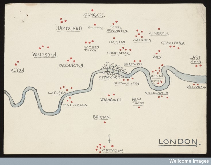 L0051628 Sketch of London where amulet necklaces were found Credit: Wellcome Library, London. Wellcome Images images@wellcome.ac.uk http://wellcomeimages.org Sketch made by Edward Lovett, showing districts of London where Lovett had collected blue amulet necklaces, which were thought to protect the wearer from illness. The necklaces were later passed on to the Wellcome Historical Medical Museum 14 September 1914 Lovett, E Edward Lovett Published:  -   Copyrighted work available under Creative Commons by-nc 2.0 UK, see http://wellcomeimages.org/indexplus/page/Prices.html