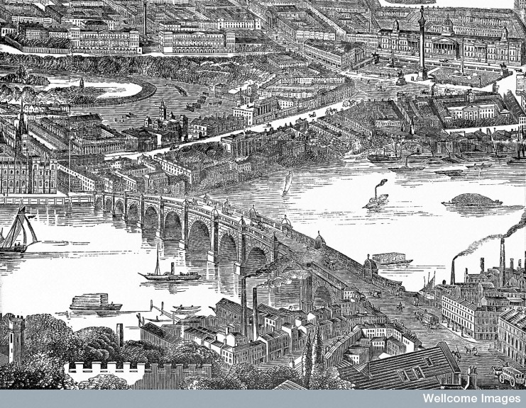 L0018931 A panorama of London seen from the south: above, Westminster Credit: Wellcome Library, London. Wellcome Images images@wellcome.ac.uk http://wellcomeimages.org A panorama of London seen from the south: above, Westminster, below, the City of London. Wood engraving by F. J. Smyth, 1845. Wood engraving 1845 By: F.G. Smythafter: Frederick James SmythIllustrated London News Published: 11 January 1845  Copyrighted work available under Creative Commons by-nc 2.0 UK, see http://wellcomeimages.org/indexplus/page/Prices.html