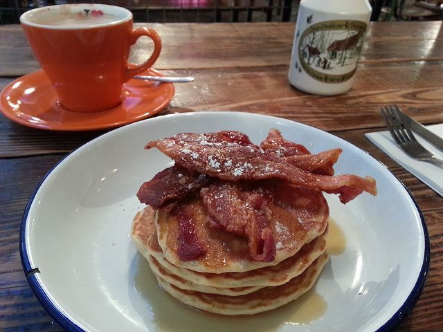 Pancakes and bacon at The Breakfast Club