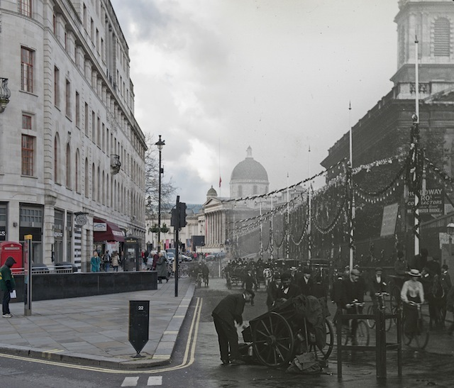 View of Duncannon Street decorated with bunting and banners for the coronation ceremony of Edward VII. There are pedestrians and vehicles in the foreground and the National Gallery is visible in the distance  Please note this image should only be used in the context of press publicity for the Streetmuseum app.
