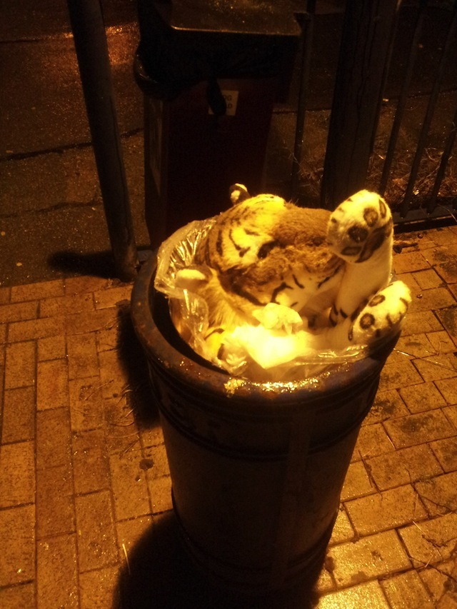 A tiger, harshly stuffed into a bucket. It's beyond the pail to treat an endangered species like this. Spotted by Ben in Deptford.