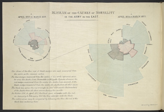 Diagram of the causes of mortality in the army in the East, by Florence Nightingale. 1858