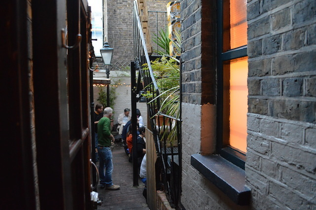 The narrow beer garden.