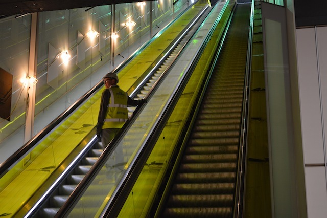 The first working escalator on Crossrail, at Canary Wharf.