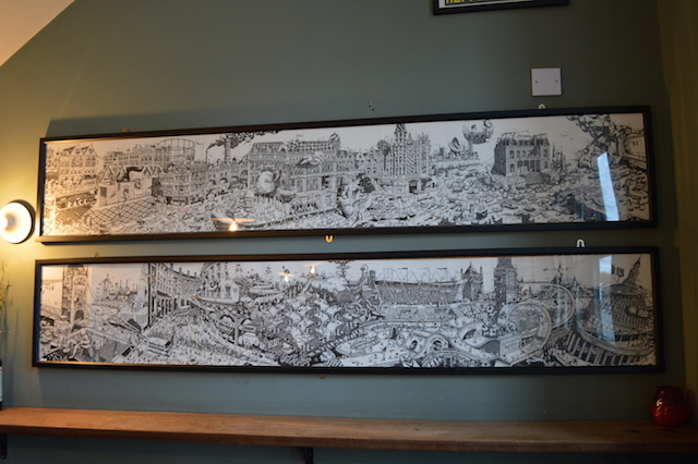 Gorgeous panoramas of London. The bar staff were clueless about the identity of the artist. Anyone?