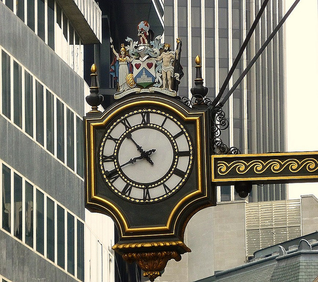 Gilded Clock, Cornhill, by Helen via flickr