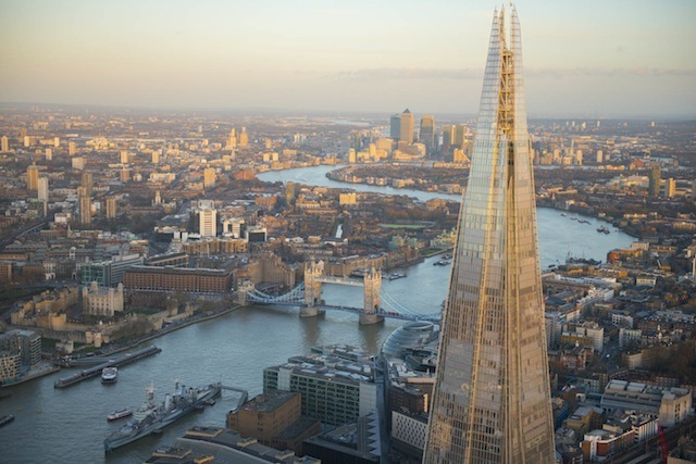 The Shard is currently the tallest building in the European Union standing at 87 stories high.