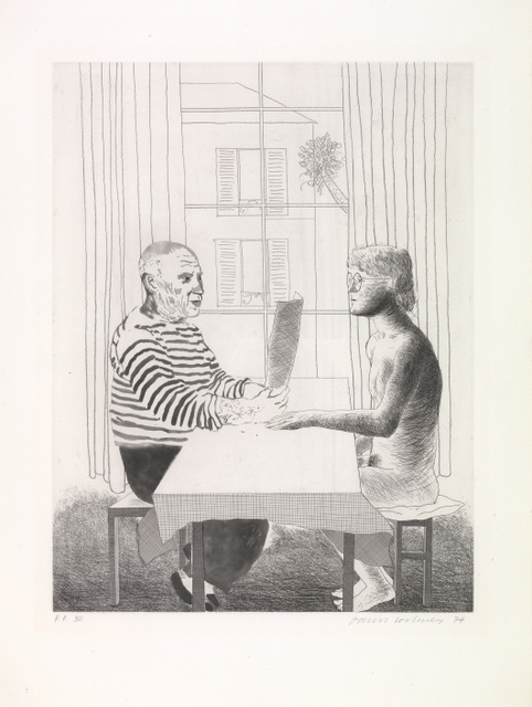 """ARTIST AND MODEL"" 193-74 ETCHING A.P. XII 29 1/2 X 22 1/4"" © DAVID HOCKNEY PHOTO CREDIT: RICHARD SCHMIDT"
