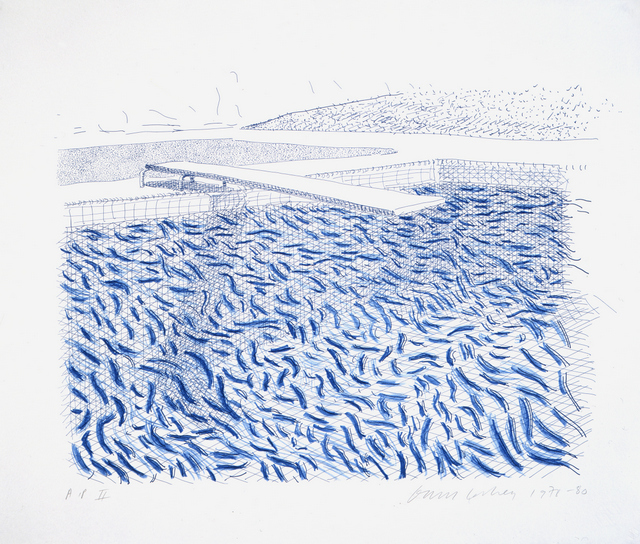 """LITHOGRAPHIC WATER MADE OF LINES AND CRAYON (POOL II-B)"" 1978/80 LITHOGRAPH 29 1/4 X 34"" © DAVID HOCKNEY/TYLER GRAPHICS LTD."