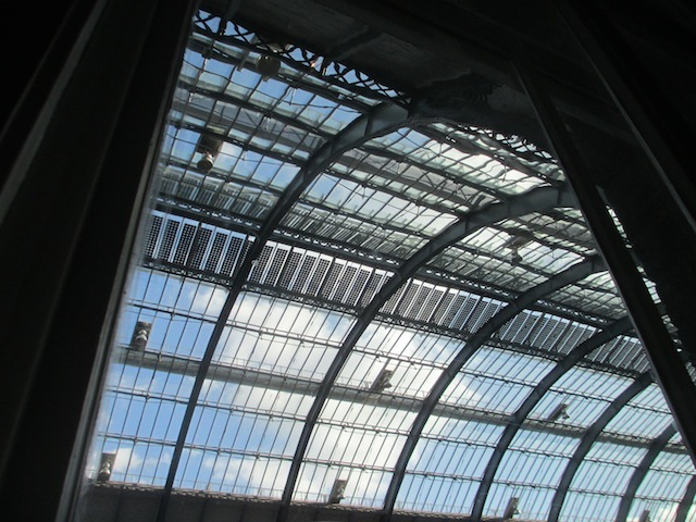 Gaze out of the window and up towards the refurbed roof of King's Cross station.