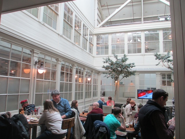 The conservatory area, with some people.