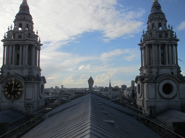 Looking west from the apex of the roof.