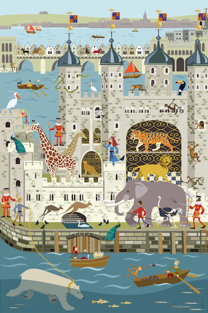 Menagerie in the Tower by Erica Sturla. The Royal menagerie in the Tower brings a wealth of stories from its 600 year chapter in London's history. I wanted to create an exotic, chaotic and historical scene in a bright contemporary drawing.