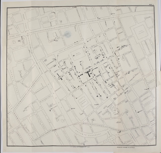The famous map by John Snow, showing instances of cholera around the Broad Street pump.