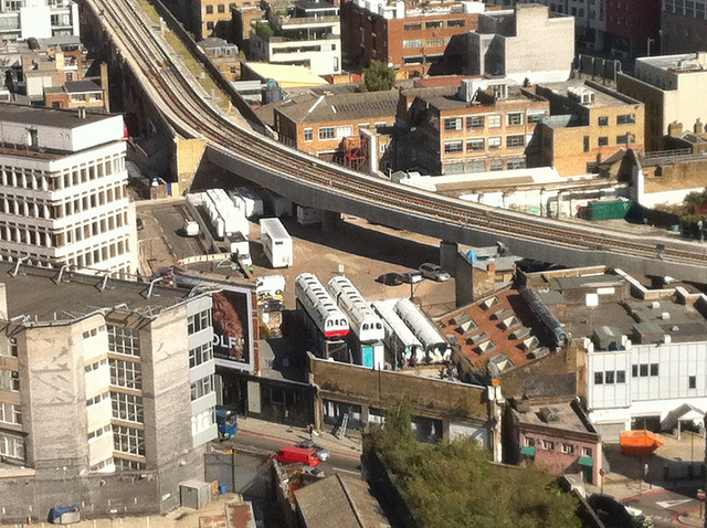 Site of Shoreditch Village, either side of the viaduct, seen from Broadgate Tower. Image by M@.