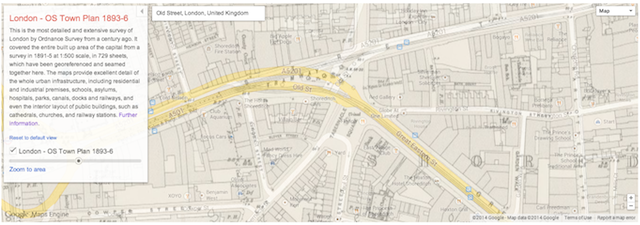 Detailed Victorian London Map Superimposed On Google Maps