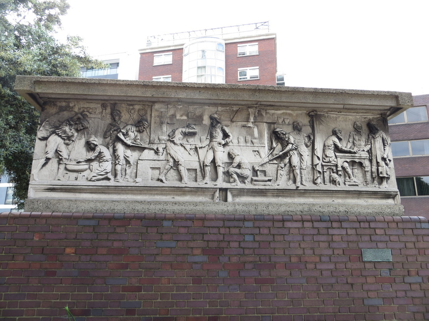 Where would you find this frieze, formerly on the front of a shop?