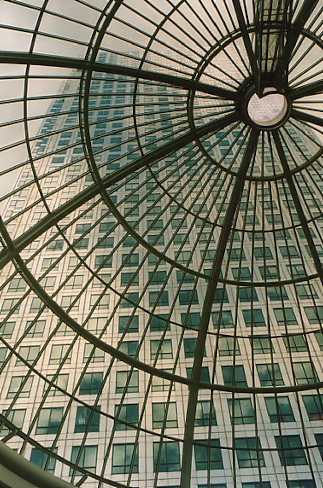 What's the address of the building beyond the glass dome.