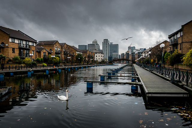 Looking towards Milwall Dock on the Isle of Dogs by Chris Ballard via Flickr