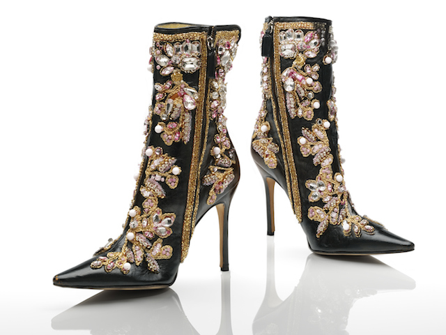 Ankle boots, black leather stiletto heels with gold, white and pink embroidery by Dolce & Gabbana, 2000. Photo © Victoria and Albert Museum, London.