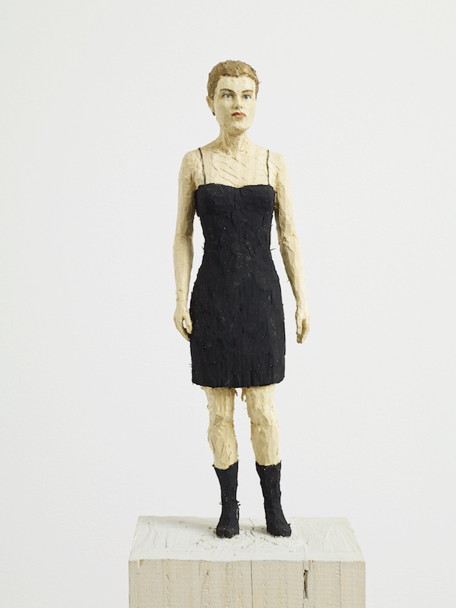 Woman in Black Dress, Stephan Balkenhol, 2014. Copyright the artist. Courtesy of Stephan Balkenhol and Stephen Friedman Gallery, London. Photography Stephen White.